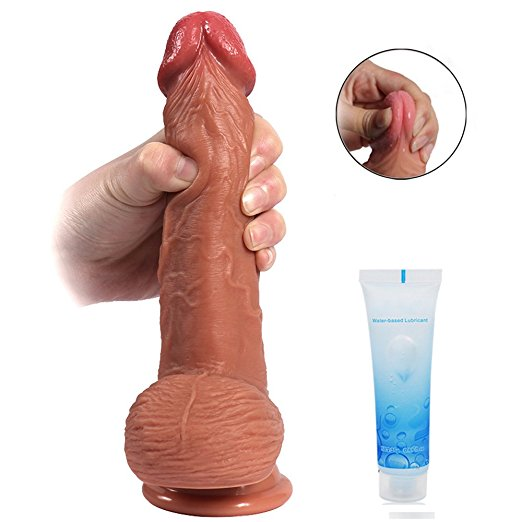 Realistic Silicone Dildo with Suction Cup-8 inch Double Layer
